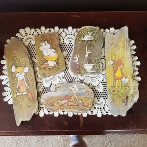 1974 faux driftwood wall plaques NIfty Drifty